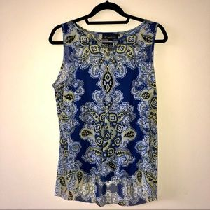 INC Blue and Yellow Sleeveless Blouse